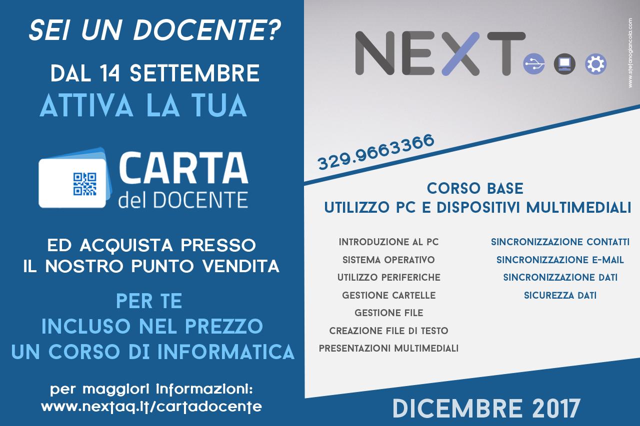 slide carta del docente per buono utilizzabile presso NEXT L'Aquila